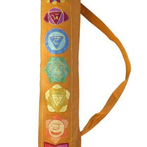 Seven chakra design yoga mat bag in Saffron Yellow