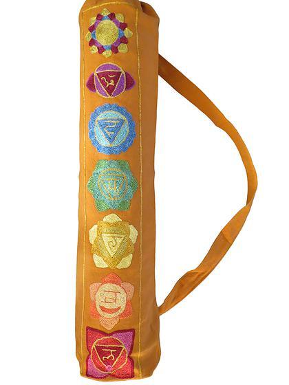Seven Chakra Yoga Mat Bag In Saffron Yellow Essentially Aromatherapy