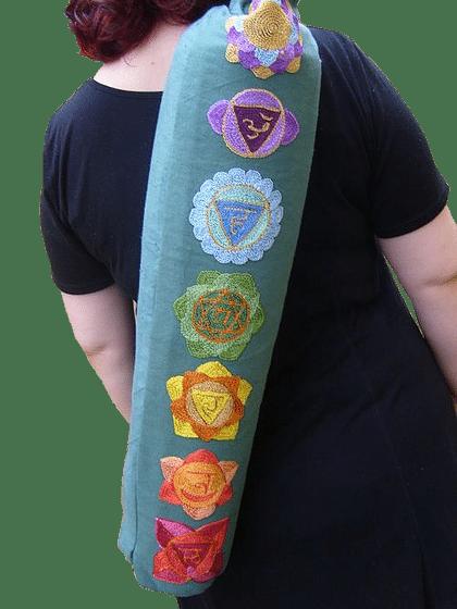 Seven chakra design yoga mat bag in Green